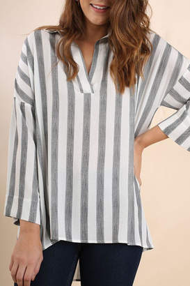 Umgee USA Striped Collared Tunic
