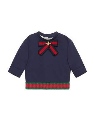Gucci Web Bow & Hem Long-Sleeve Sweatshirt, Size 12-36 Months