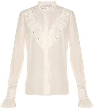 STELLA MCCARTNEY Ruffled high-neck silk blouse