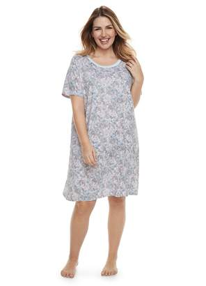 Plus Size Jammies For Your Families Floral Nightgown