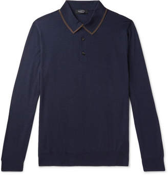 Ermenegildo Zegna Contrast-Tipped Wool and Silk-Blend Polo Shirt - Men - Navy