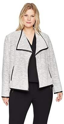 Calvin Klein Women's Plus Size LINE Detail Flyaway Jacket