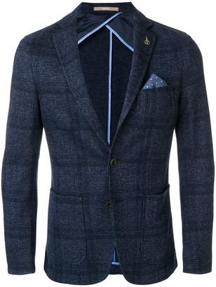 Paoloni checkered blazer with pocket square