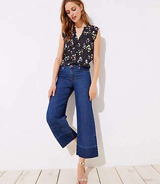 LOFT Petite Cotton Linen Wide Leg Jeans in Original Mid Stonewash