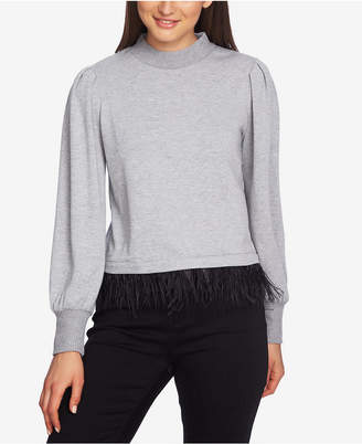 1 STATE 1.state Cozy Feather-Hem Mock-Neck Sweater