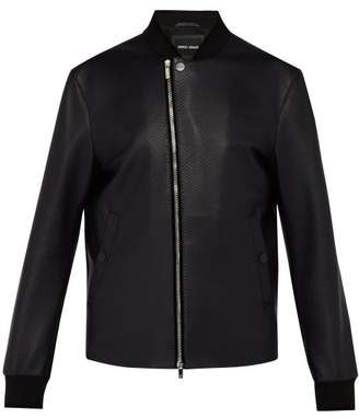 Giorgio Armani Bonded Leather Bomber Jacket - Mens - Navy
