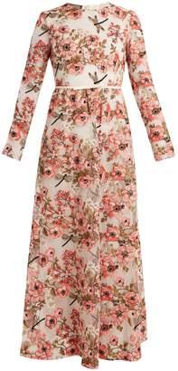 Giambattista Valli Anemone-embroidered long-sleeved dress