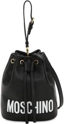 29e270eadc Moschino Logo Printed Leather Bucket Bag