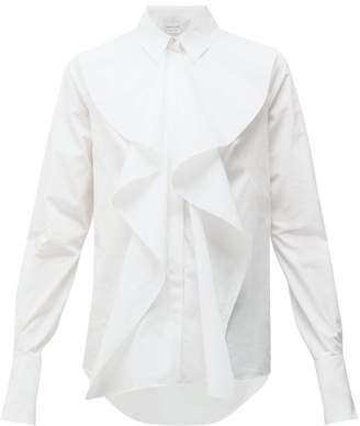 Alexander McQueen Ruffled Cotton Poplin Shirt - Womens - White
