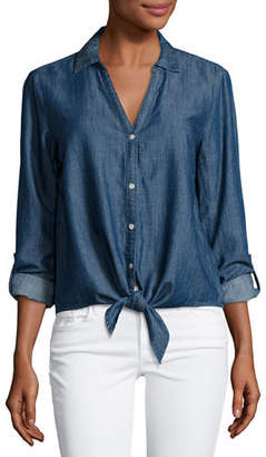 Soft Joie Crysta Chambray Tie-Hem Shirt $178 thestylecure.com