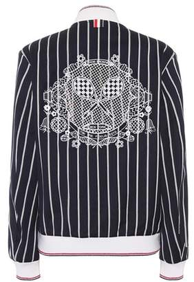Thom Browne Striped varsity jacket with lace