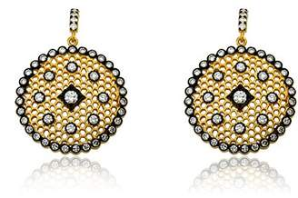 "Riccova""Cosmopolitan"" Satin 14k -Plated Lace Medallion Earrings Accented with Black Rhodium and Cubic Zirconia"