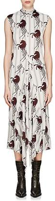 Chloé Women's Striped Horse-Print Silk Sleeveless Dress - Wht, Brn