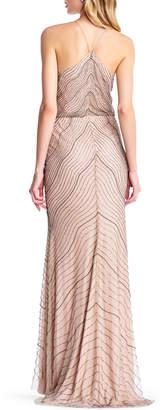 Adrianna Papell Beaded Halter-Neck Blouson Evening Gown