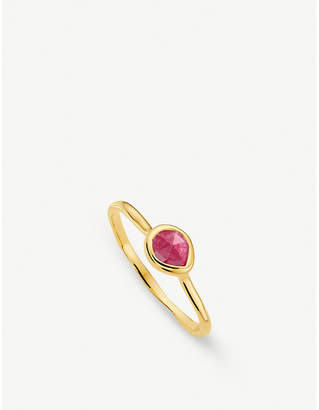 Monica Vinader Siren 18ct gold vermeil and pink quartz small stacking ring