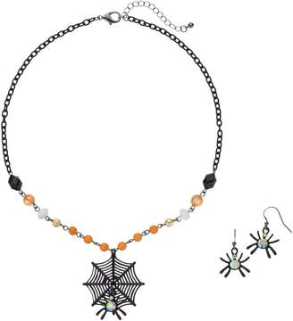 Spiderweb Pendant Necklace & Drop Earring Set