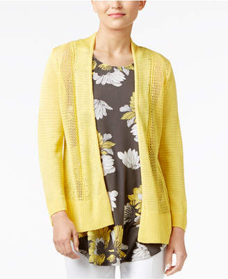 Alfani Sheer Mixed-Knit Cardigan, Only at Macy's $59.50 thestylecure.com