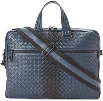 Bottega Veneta Denim & Black Intrecciato Leather Briefcase