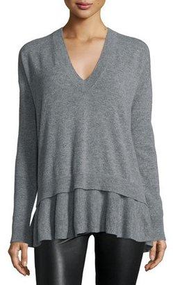 Autumn Cashmere Cashmere V-Neck Sweater w/ Layered Ruffled Hem $319 thestylecure.com