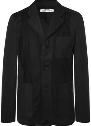 Comme des Garcons Black Slim-Fit Unstructured Twill-Panelled Wool Blazer