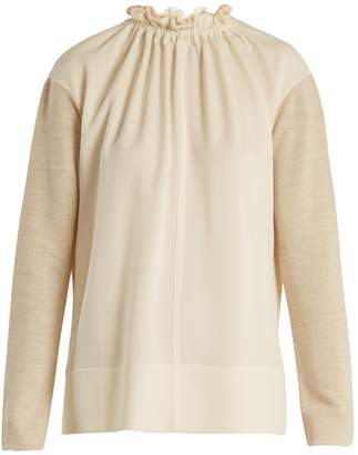 MARNI Gathered-neck contrast-panel wool-blend top