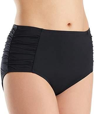 Jantzen Women's Solid Side Shirred High Waist Bikini Bottom