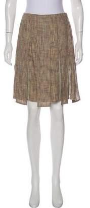 Chanel Pleated Linen-Blend Skirt