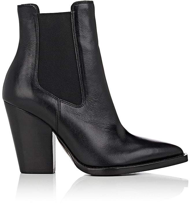 Saint Laurent Women's Theo Leather Ankle Boots