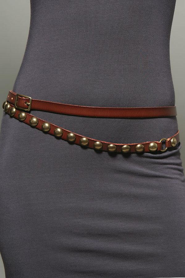 Linea Pelle Studded Double Wrap Belt in Mahogany