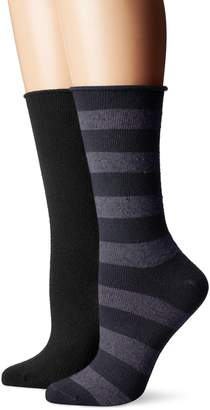 Hue Women's Tweed Stripe Boot Sock 2 Pk