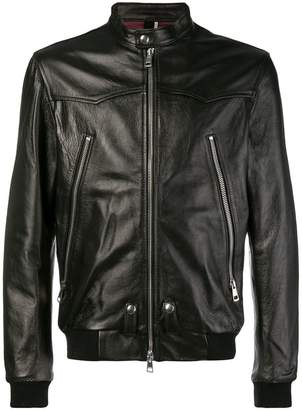 Low Brand front zip leather jacket