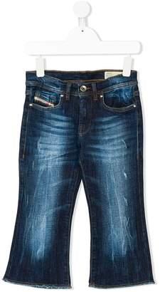 Diesel frayed bootcut jeans