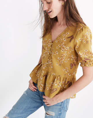 Madewell Courtyard Ruffle-Hem Top in Butterfly Sanctuary
