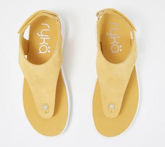 Ryka Suede T-Strap Sandals - Margo