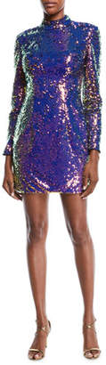 Jovani Long-Sleeve Sequin Short Cocktail Dress w/ Cutout Back