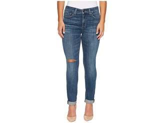 NYDJ Petite Petite Girlfriend Jeans w/ Knee Slit in Crosshatch Denim in Newton Knee Slit