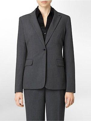 Calvin KleinCalvin Klein Womens One Button Charcoal Suit Jacket