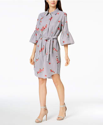 Calvin Klein Embroidered Bell-Sleeve Shirtdress, in Regular & Petite Sizes