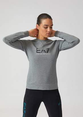 Emporio Armani Ea7 Crew-Neck Sweatshirt In Stretch Cotton With Logo Print
