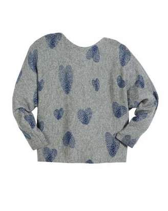 Autumn Cashmere Thumbprint Hearts Dolman-Sleeve Sweater, Size 6-16
