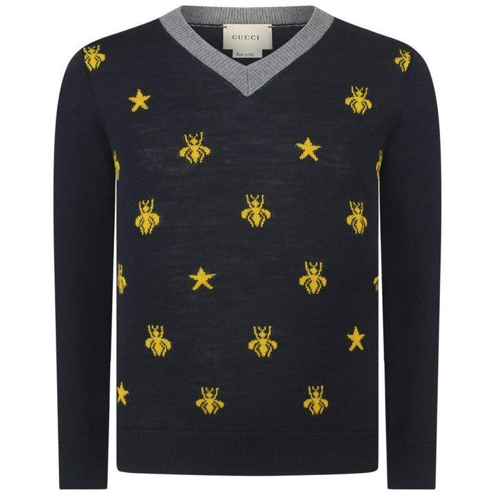 GUCCIBoys Navy Wool Bees & Stars Sweater