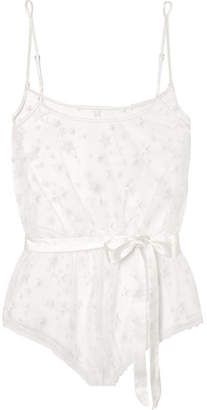 Luxx Embroidered Tulle Bodysuit - White