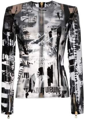 Balmain Newspaper Print PVC Transparent Top
