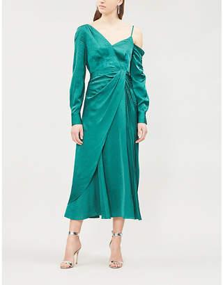 Self-Portrait Cold-shoulder ruched satin-jacquard dress