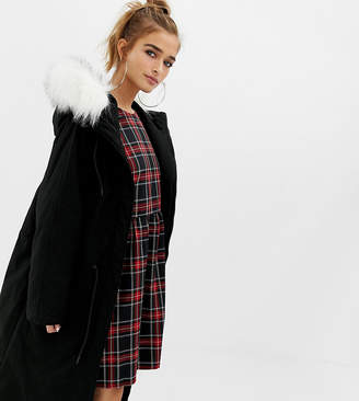 Collusion COLLUSION Petite parka jacket with fur lined hood