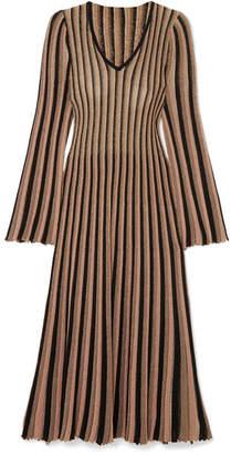 ADAM by Adam Lippes Pleated Striped Metallic Knitted Midi Dress - Gold