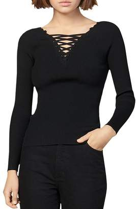 Sandro Lace Fitted V-Neck Sweater