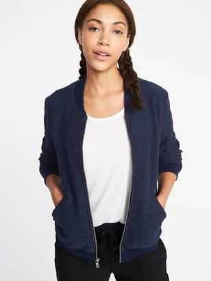Old Navy Bouclé-Knit Bomber Jacket for Women