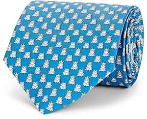 Salvatore Ferragamo Men's Frog-Print Silk Twill Necktie - Lt. Blue