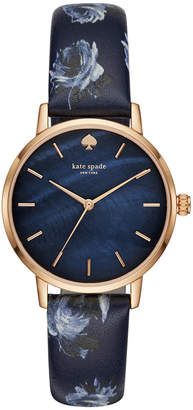 Kate Spade Women Metro Blue Floral Leather Strap Watch 34mm